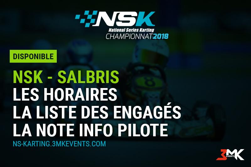 NSK SALBRIS 2018 : LES INFOS