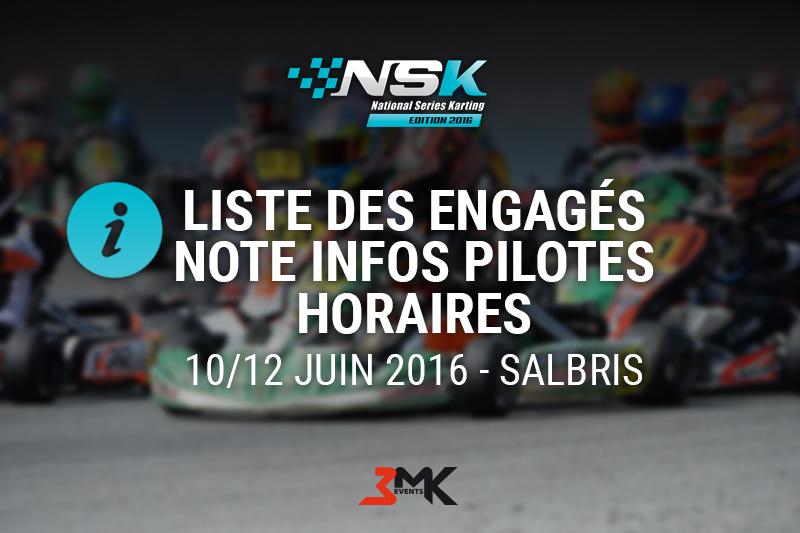 NSK SALBRIS 2016 : LES INFOS